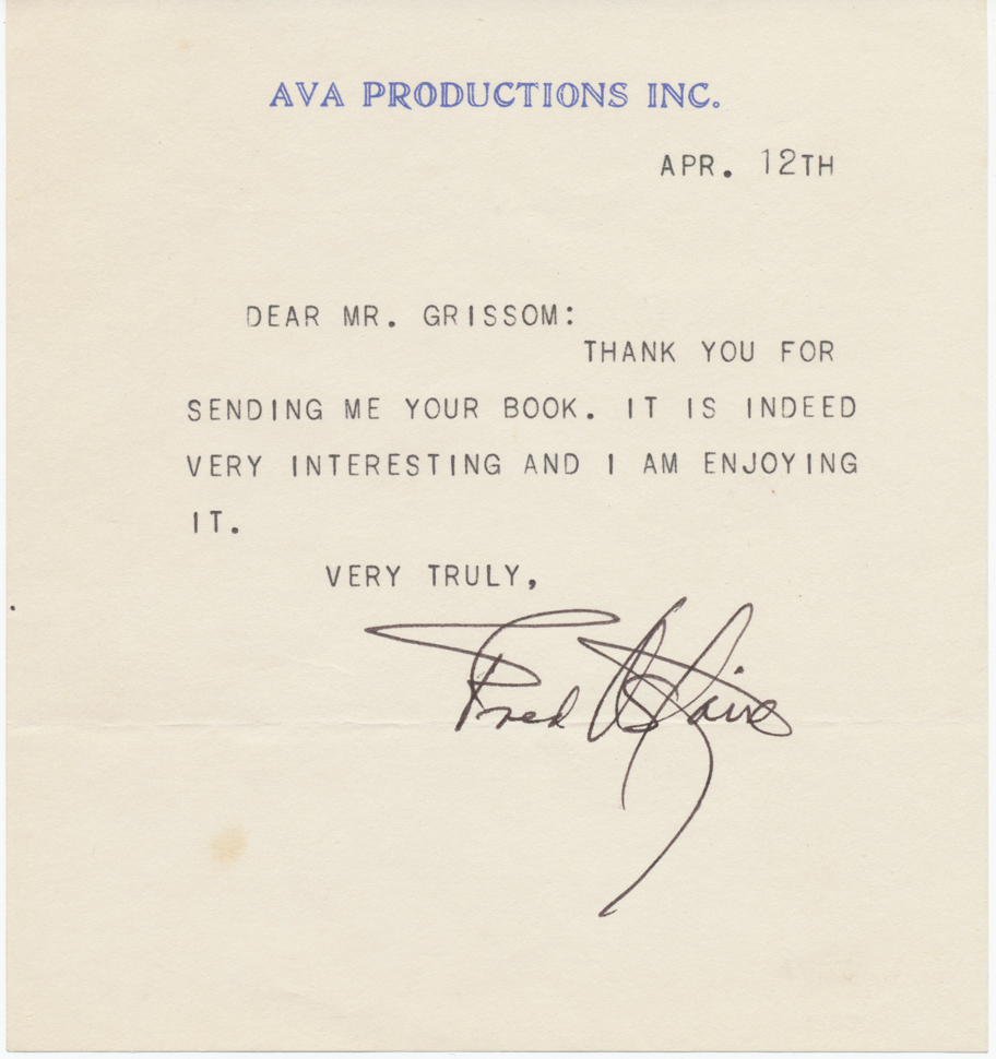 Fred Astaire Autograph Signature Typed Letter Signed John Grissim