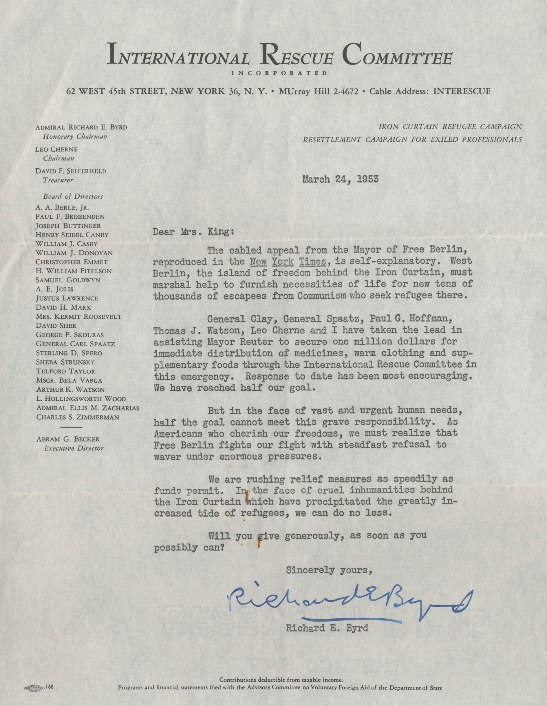 Admiral Richard E Byrd Letter Signed International Rescue Committee