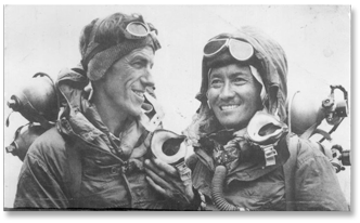 Edmund Hillary and Tenzing Norgay on Mt. Everest