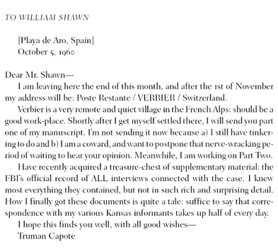 Letter from Truman Capote to William Shawn